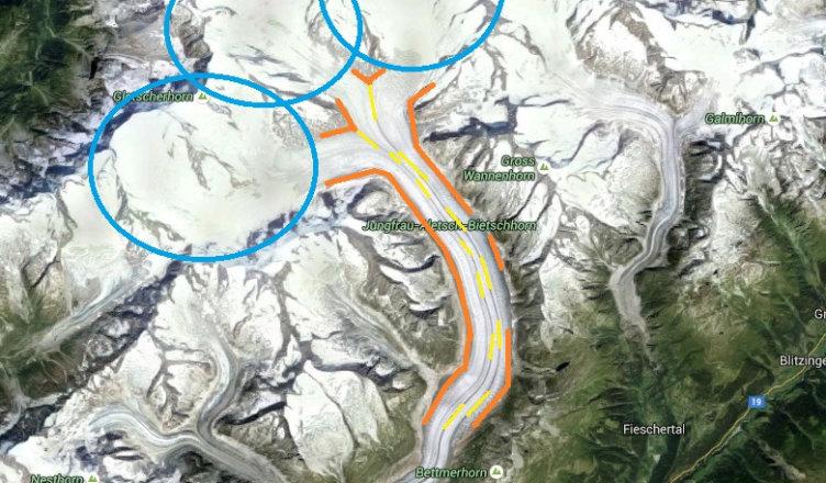 Lodowiec alpejski z elementami składowymi - Grosser Aletschgletscher w szwajcarskich Alpach z logo, rodzaje lodowców górskich