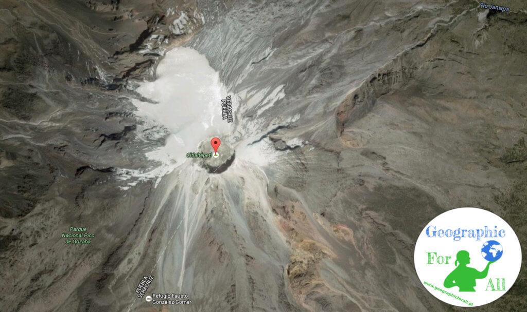 Lodowiec kraterowy Orizaba w Meksyku z logo