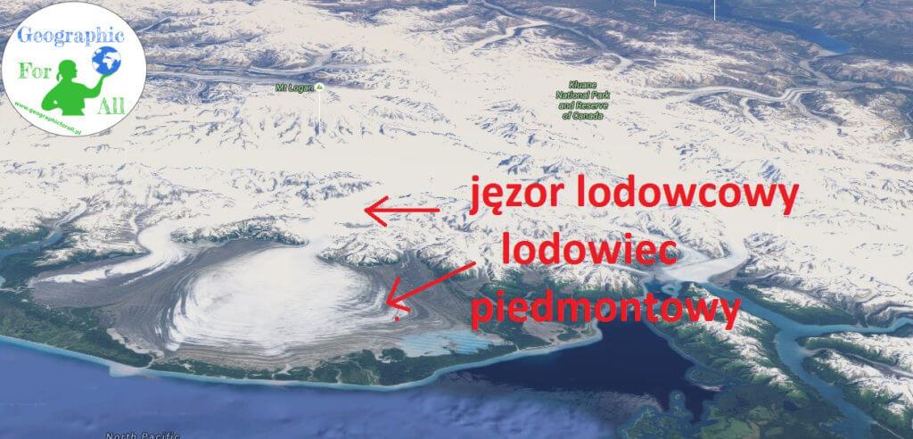 Lodowiec piedmontowy Malaspina, będący jednocześnie fragmentem lodowca Beringa typu himalajskiego (Google Earth) zlogo