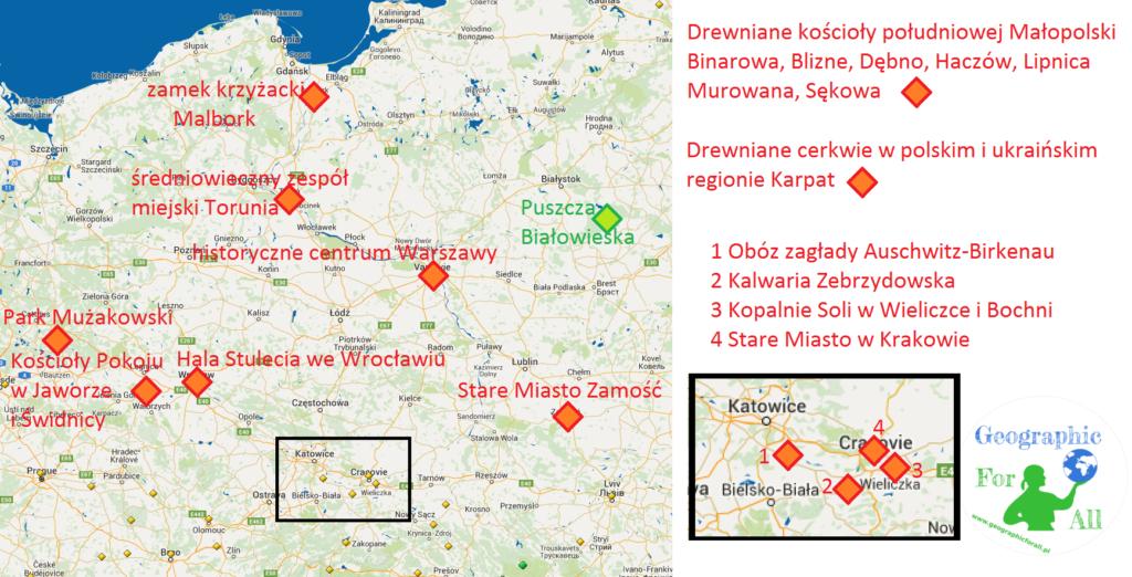 Mapa zzaznaczeniem polskich obiektów wpisanych nalistę dziedzictwa UNESCO