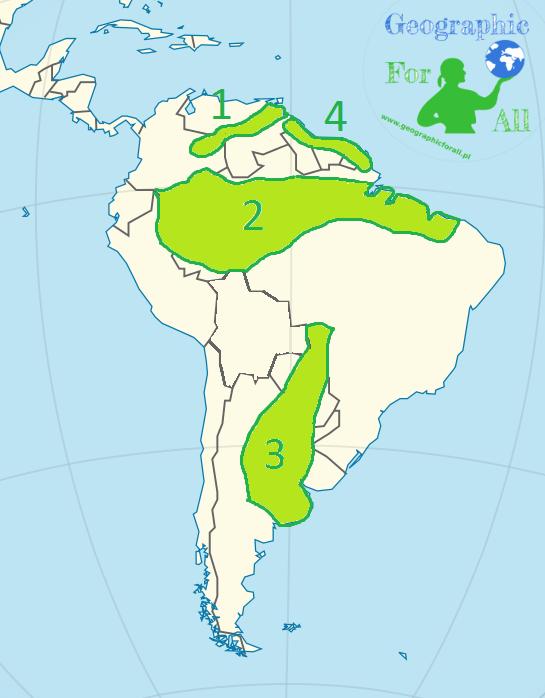 Niziny Ameryki Południowej mapa konturowa
