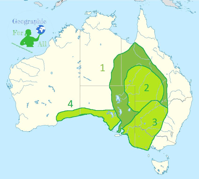 Niziny Australii mapa konturowa