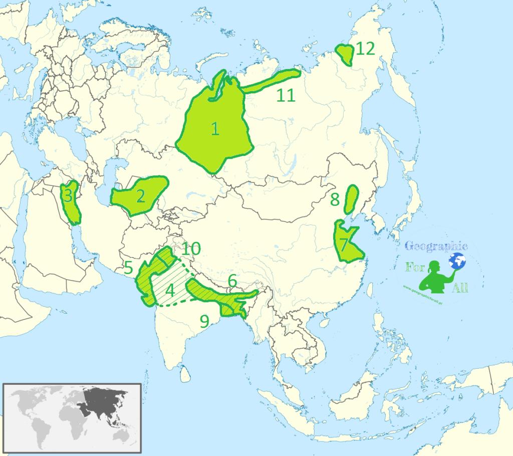 Niziny Azji mapa konturowa