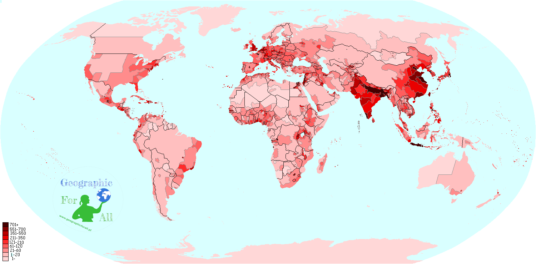 Gęstość ludności naświecie wgobszarów administracyjnych, By!KrzysiekBu! [CC BY-SA 3.0], via Wikimedia Commons