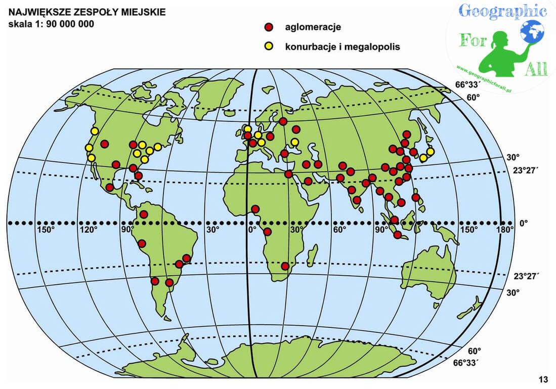 Wybrane aglomeracje imegalopolis naświecie Autor: Mariusz Olczyk Mapa udostępniona zserwisu tyflomapy.pl