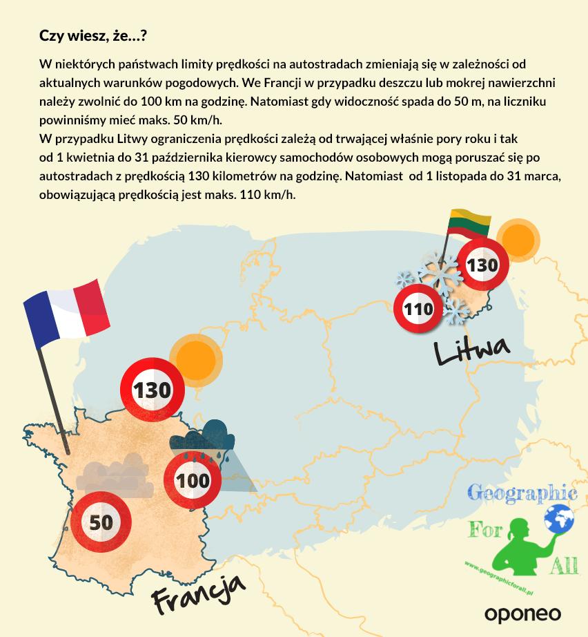limity prędkości naautostradzie Francja iLitwa, copyright iźródło Oponeo.pl