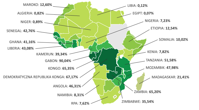 Lesistość naświecie Afryka
