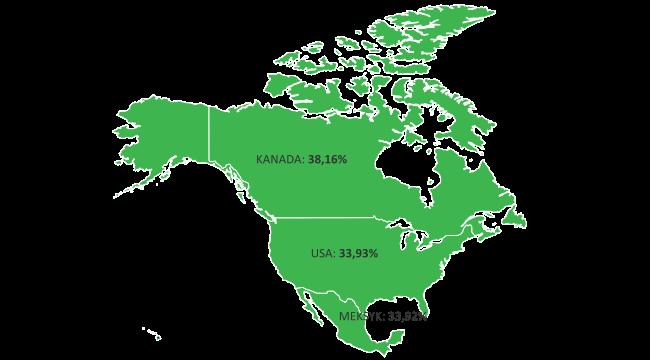 Lesistość naświecie Ameryka Północna