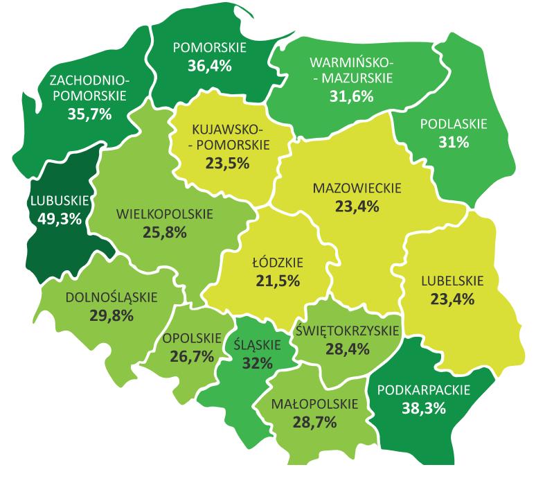 Lesistość wPolsce 2016 województwa