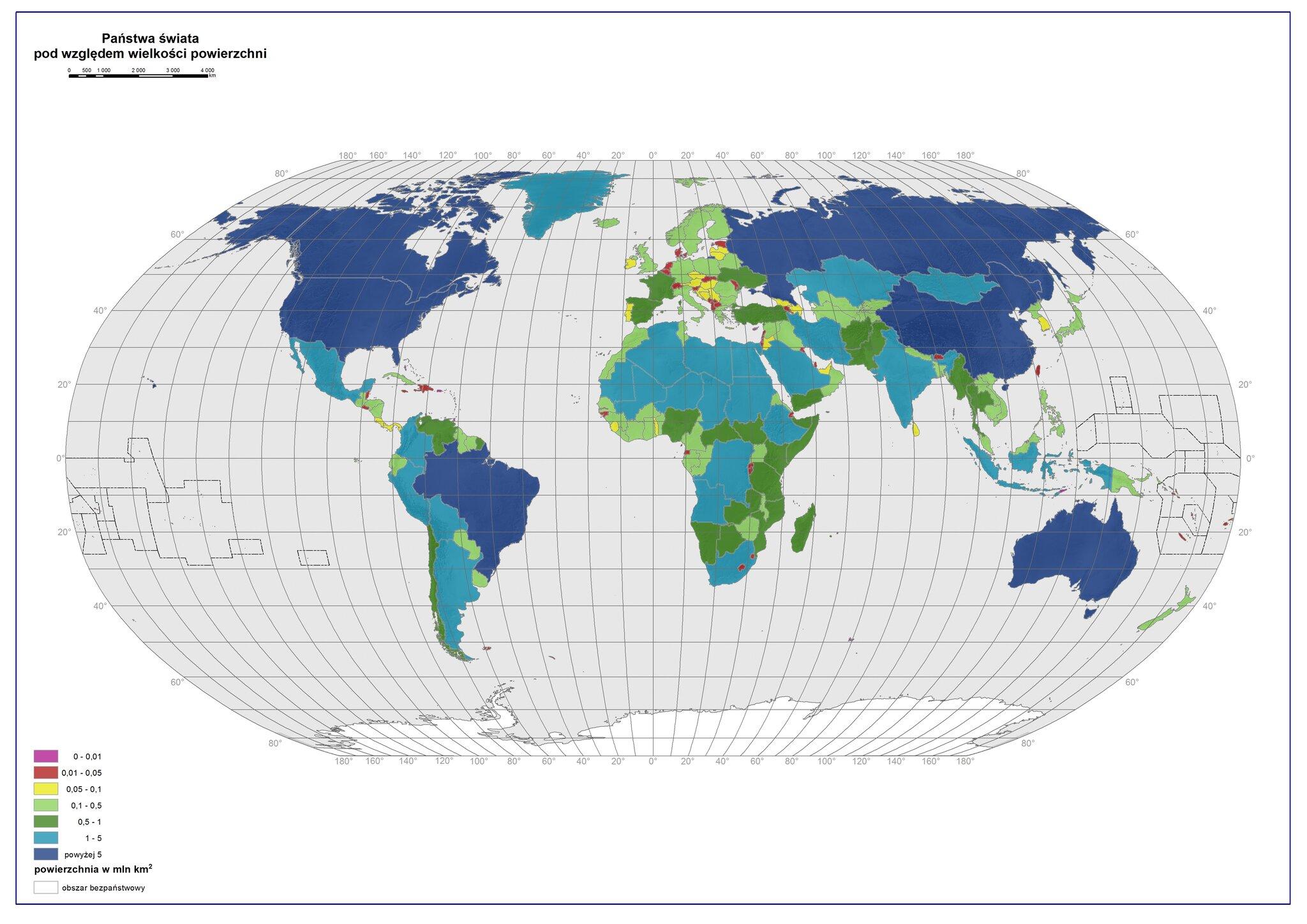 Państwa świata podwzględem wielkości powierzchni,źródło Eduexpert Sp. zo.o., CC BY-SA 3.0