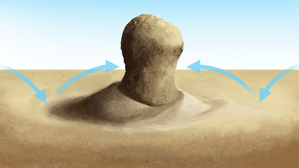 Korazja eoliczna podstawy skały ostańcowej, Źródło Englishsquare.pl Sp. zo.o., CC BY-SA 3.0