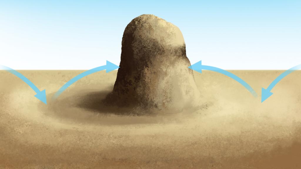 Uderzenie okruchów skalnych oskałę ostańcową, Źródło Englishsquare.pl Sp. zo.o., CC BY-SA 3.0