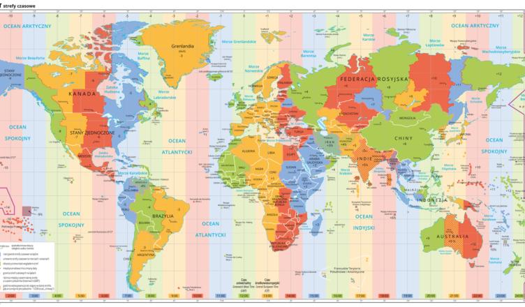 Strefy czasowe na świecie, Źródło Wydawnictwo Edukacyjne Wiking, licencja CC BY 3.0.