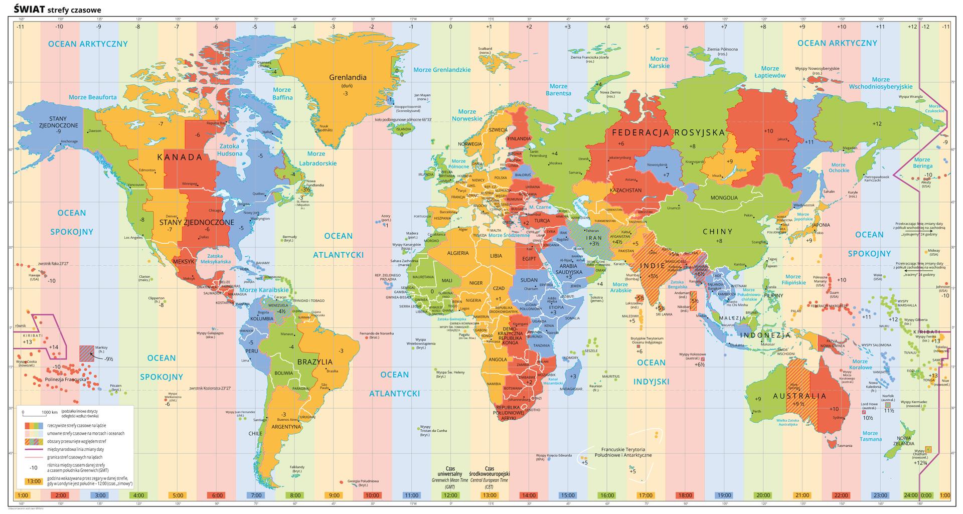 Strefy czasowe naświecie, Źródło Wydawnictwo Edukacyjne Wiking, licencja CC BY3.0.